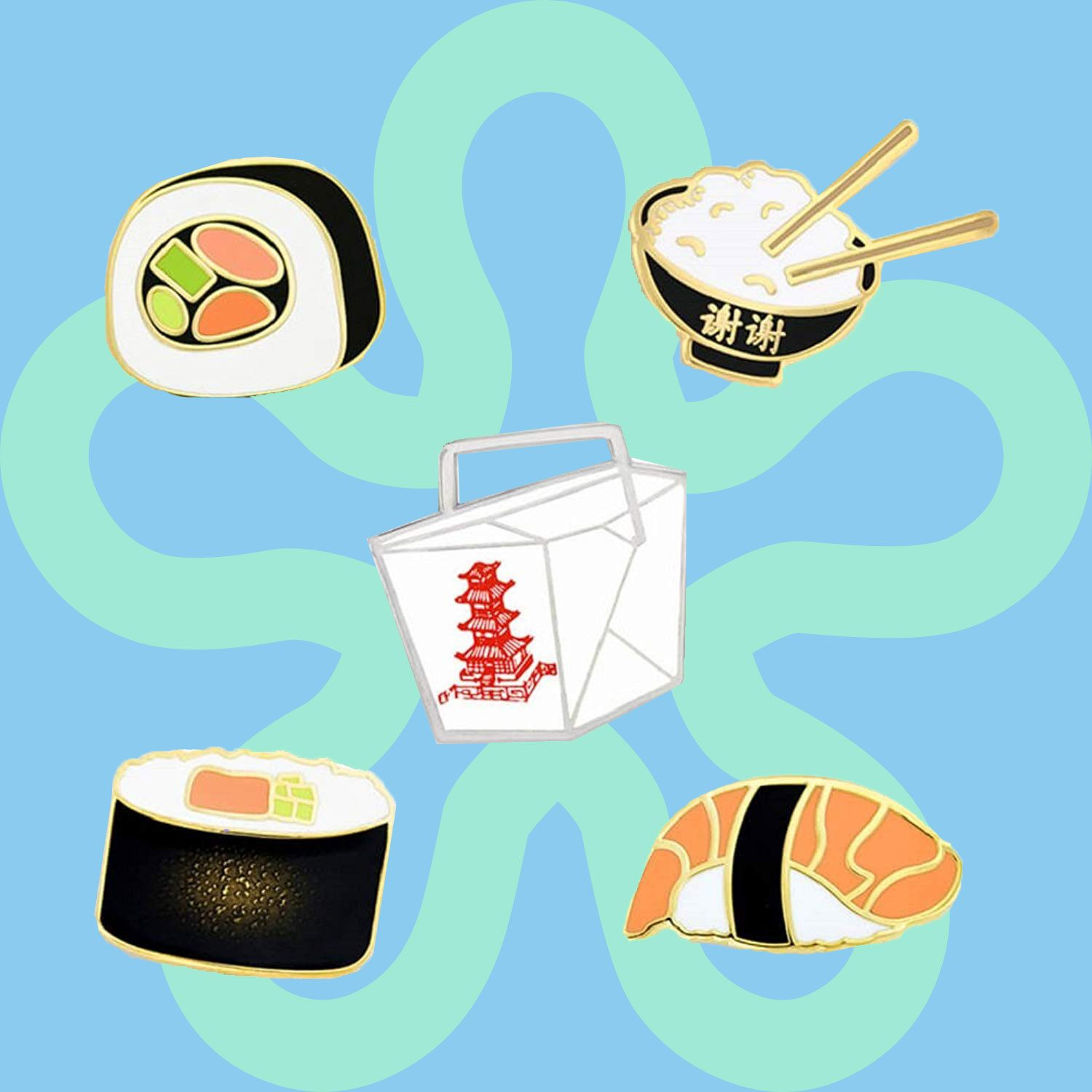 PinMart Asian Cuisine Sushi and Chinese Take Out Enamel Lapel Pin Set