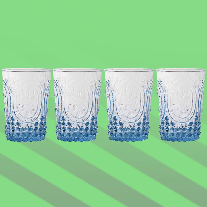 Fleur De Lys Azure Juice Glass 4-Piece Set, 10 Ounce