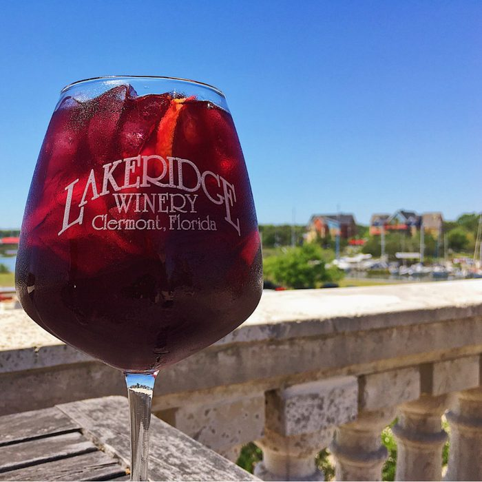 Close-up of a glass of wine at Lakeridge Winery
