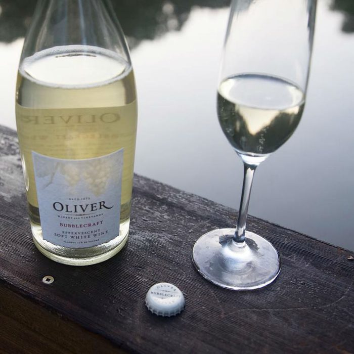 Wine bottle at Acquaviva Winery