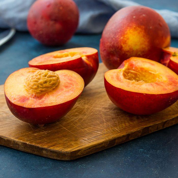 Ripe juicy nectarines stone fruit