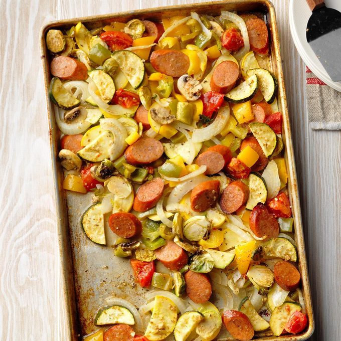 Smoked Sausage and Veggie Sheet-Pan Supper