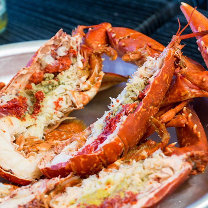 Boiled Maine lobster. Lobster.