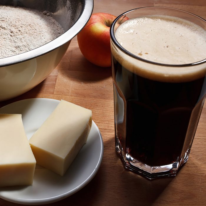 Beer batter making with dark beer and butter;