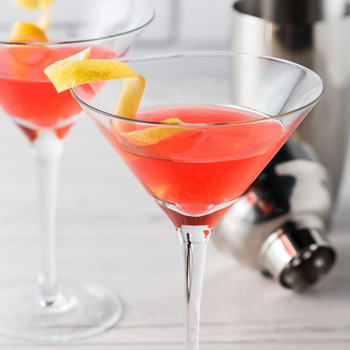 Fresh home made cosmopolitan cocktails with garnish; Shutterstock ID 483955966; job: Taste of Home