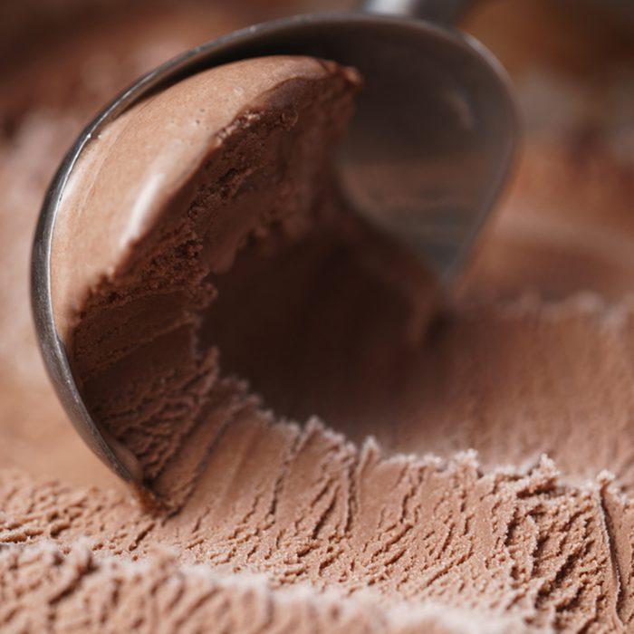 scooping chocolate ice cream close up shot, shallow focus; Shutterstock ID 577491733; Job (TFH, TOH, RD, BNB, CWM, CM): Taste of Home