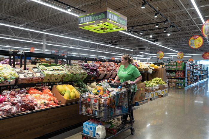 Woman shopping at Aldi