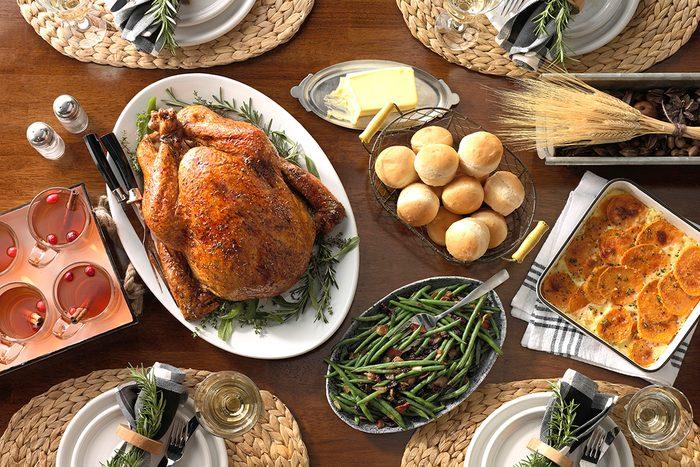 Herb-Glazed Turkey; Maple-Glazed Green Beans; Easy Batter Rolls ; Apricot-Apple Cider; Sweet Potatoes Au Gratin