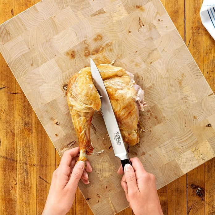 Carving a turkey - Separate the thigh and drumstick