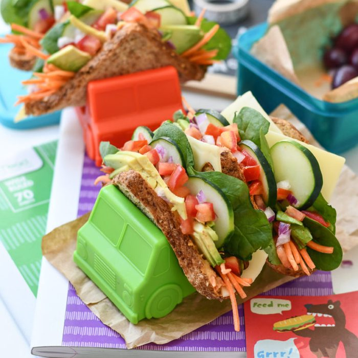Hummus and veggie sandwich tacos