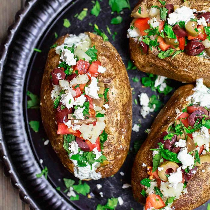 mediterranean loaded baked potato