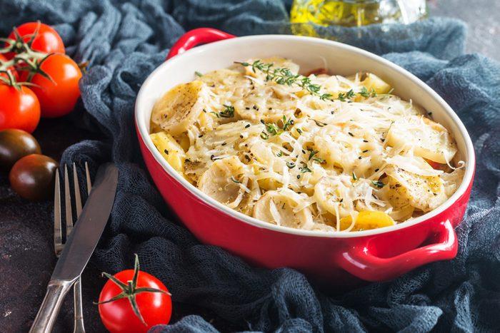 Potato gratin, in rustic dish, au gratin potatoes.