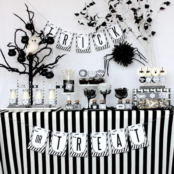 Black and white Halloween setup