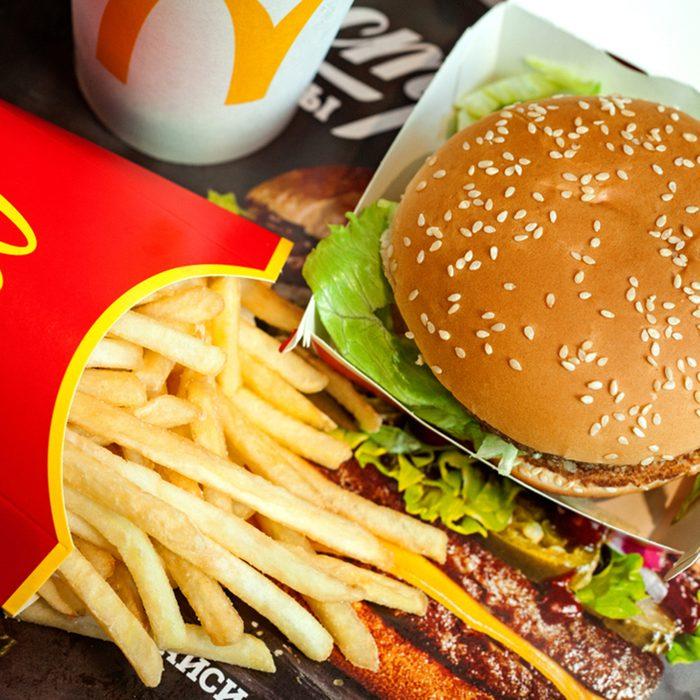 Big Mac hamburger menu in McDonald's restaurant.