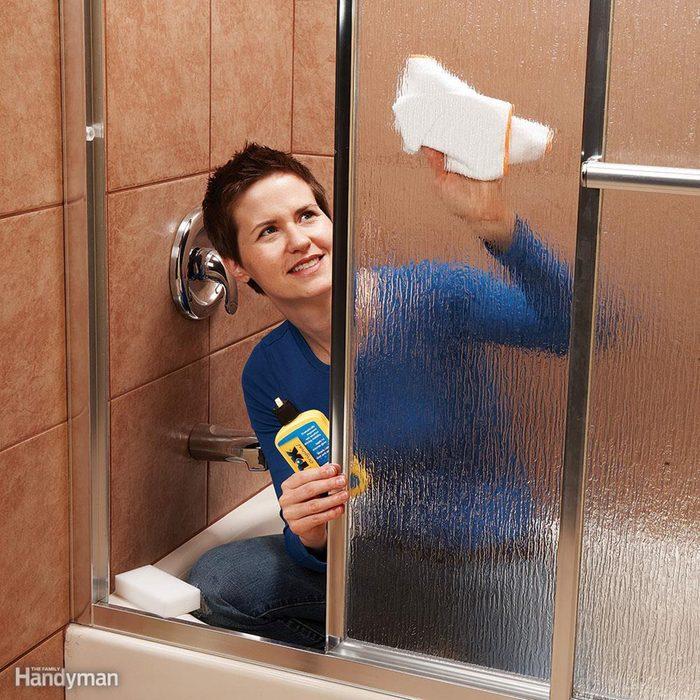 Cleaning the shower door