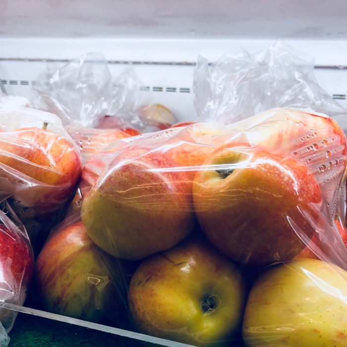 The apples in the bags