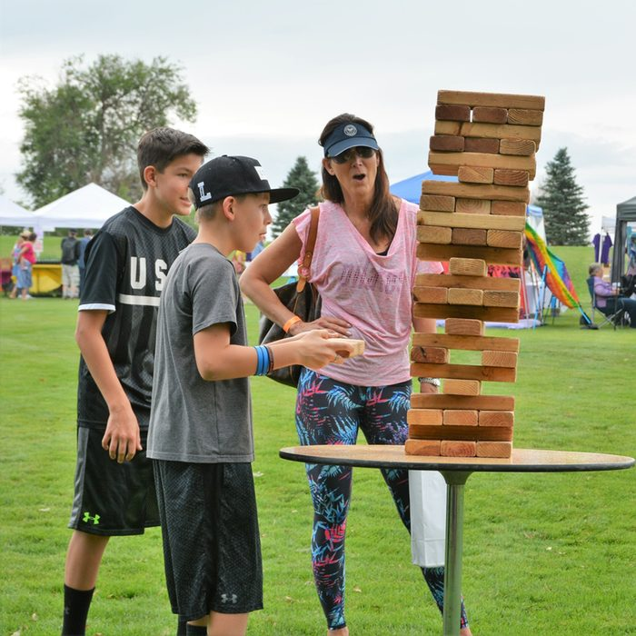 Unidentified family playing Jenga
