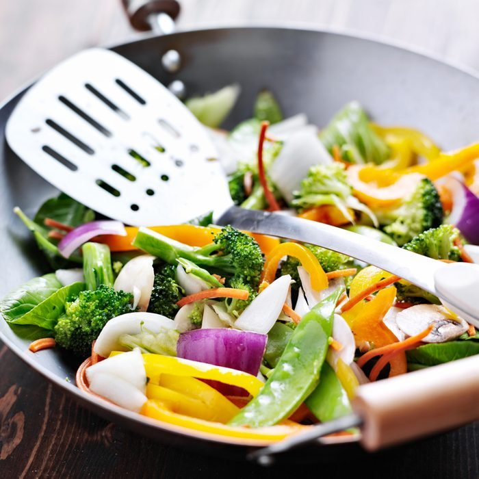 vegetarian wok stiry fry with spatula