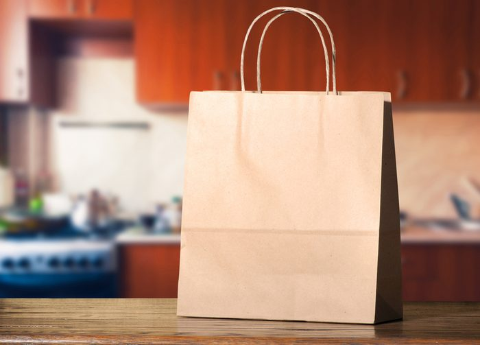Paper bag on the kitchen table; Shutterstock ID 269530175; Job (TFH, TOH, RD, BNB, CWM, CM): TOH Turkey in Paper Bag