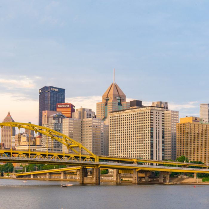 Pittsburgh, Pennsylvania skyline along the Allegheny river from North Shore Riverfront Park
