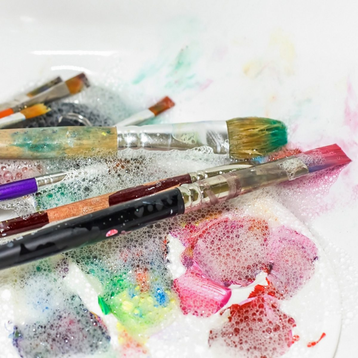 cleaning and maintenance of artistic brushes. wash with paint brush, selective; Shutterstock ID 1124272886; Job (TFH, TOH, RD, BNB, CWM, CM): Taste of Home