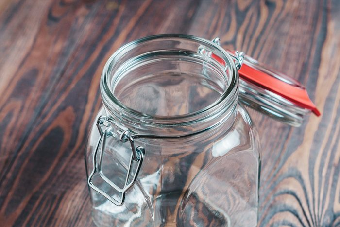 Empty glass jar with a hinged lid - dishes for food; Shutterstock ID 1167411727;