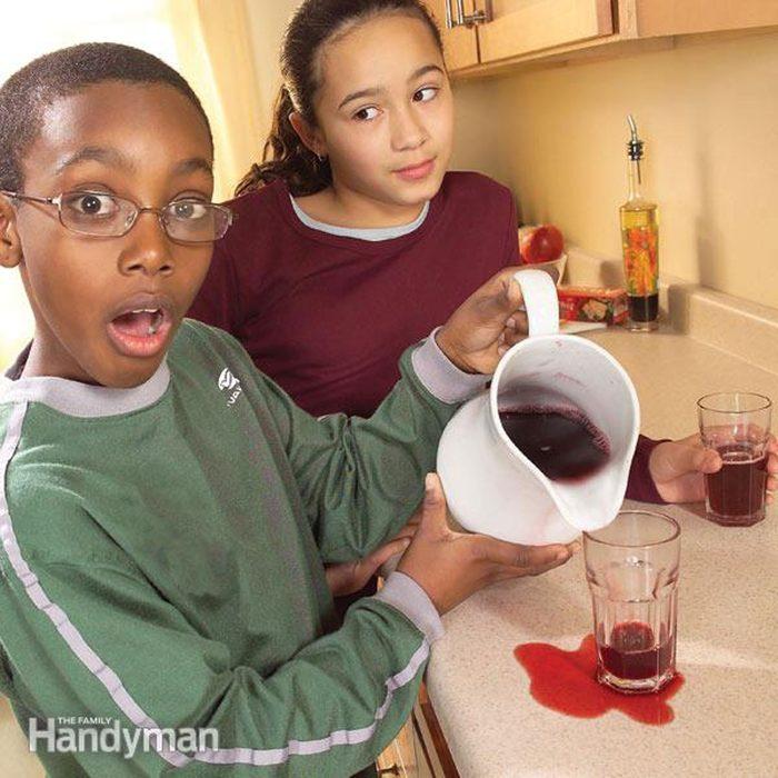 Kid spilled juice on countertops