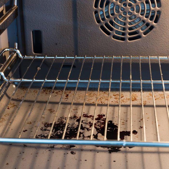 Food mess on oven floor