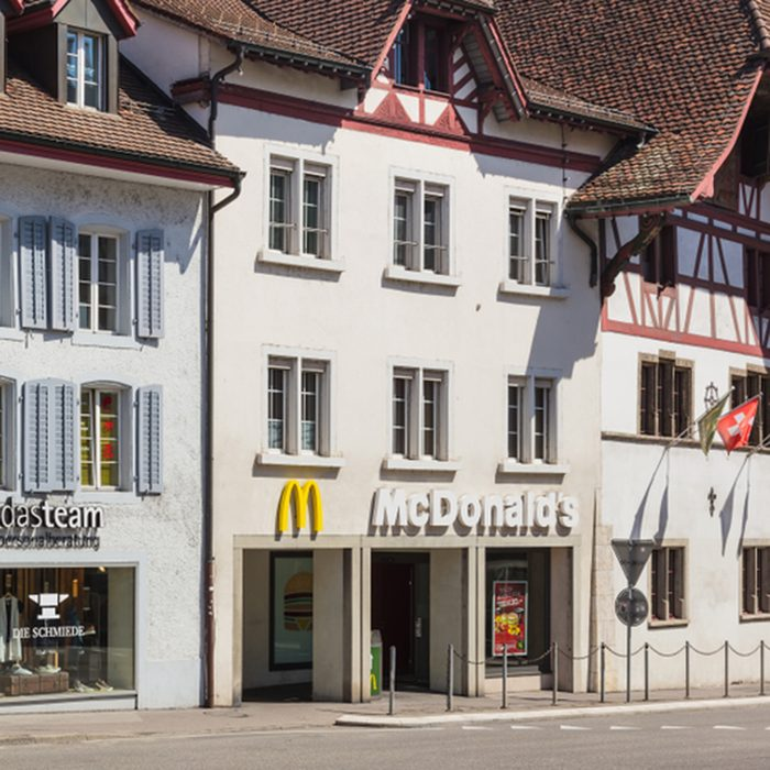 Aarau, Switzerland - 7 July, 2016: building along a street in the historic part of the town. The town of Aarau is the capital of the Swiss canton of Aargau.