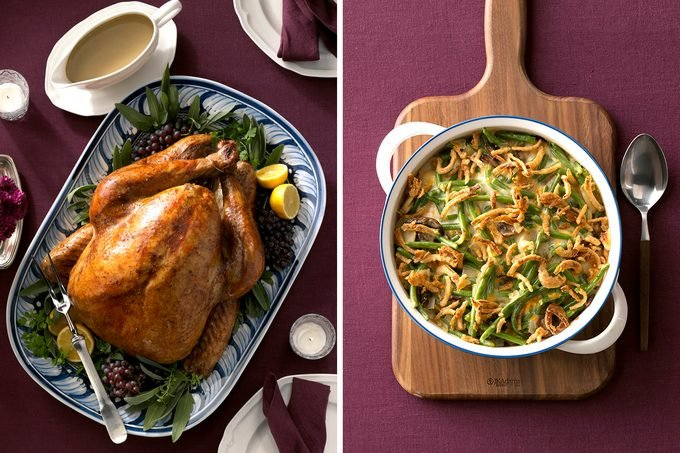 Image of two traditional Thanksgiving dishes: turkey and green bean casserole