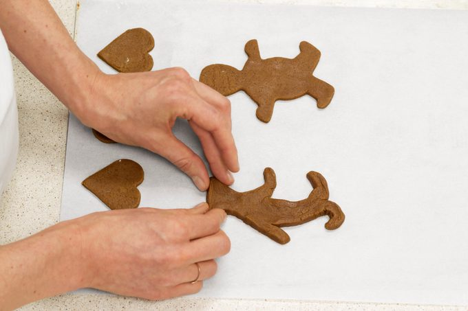 Shaping antlers for reindeer cake