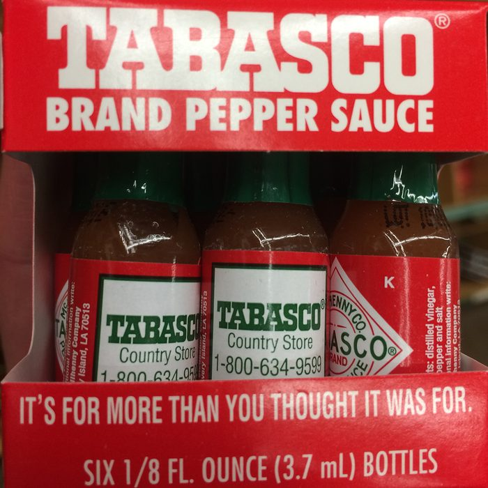 Tiny bottles of Tabasco