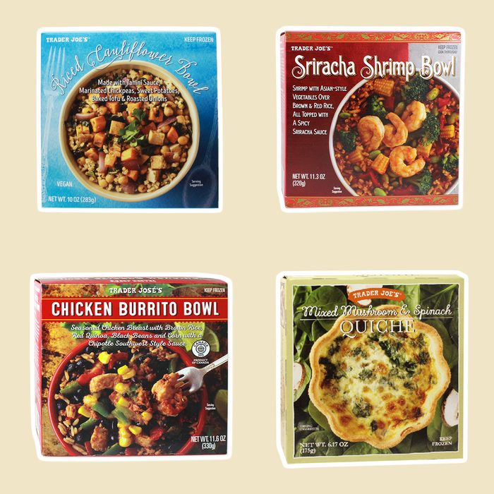 four trader joe's products on beige background