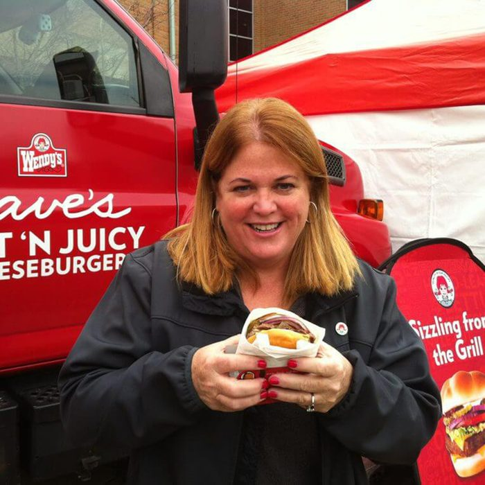 Wendy posing with burger