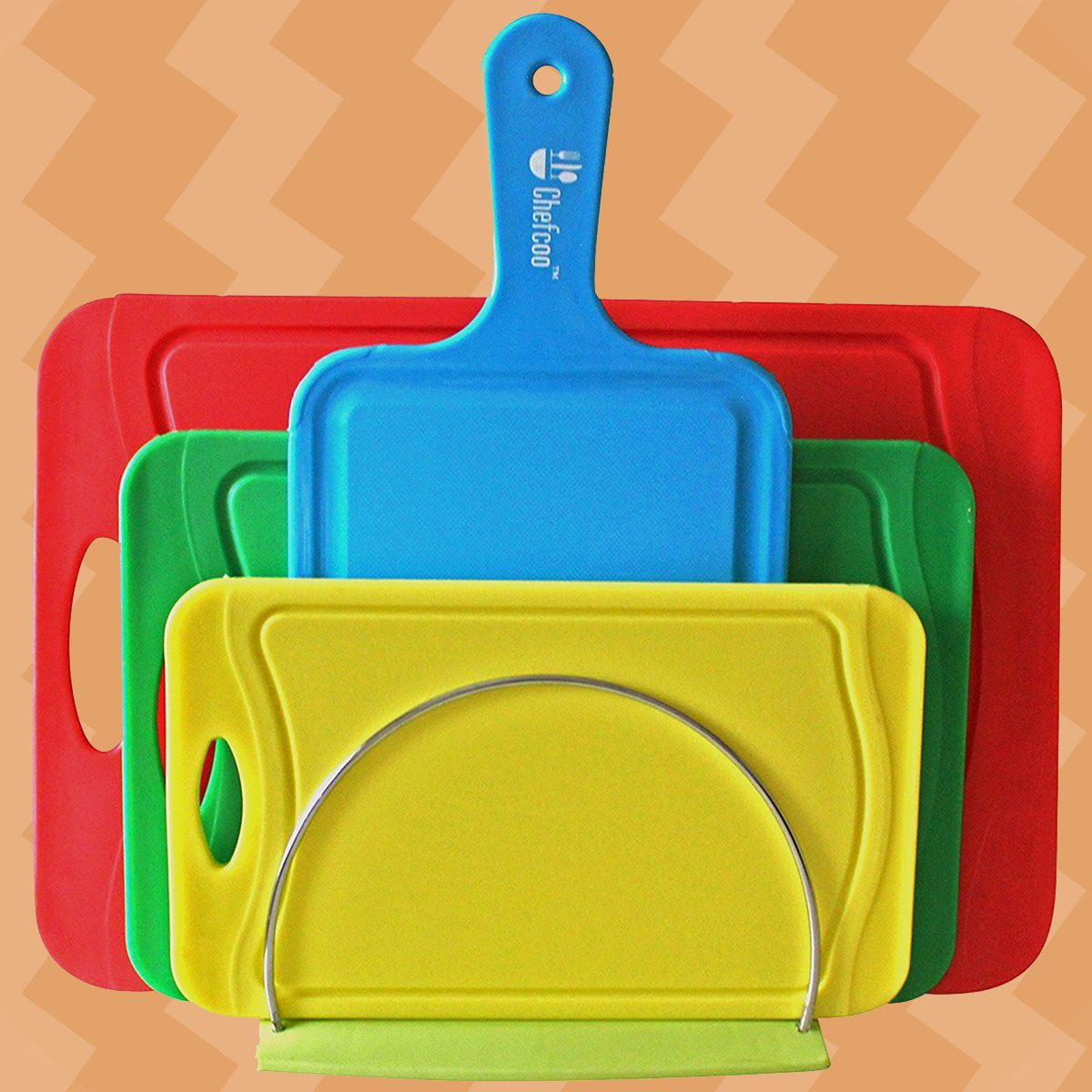 Chefcoo Cutting Board Set Stylish Color Plastic Non-Slip Kitchen Chopping Block