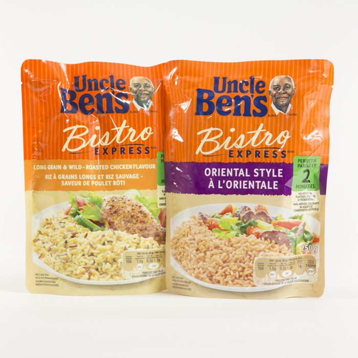 Two Flavors of Uncle Ben's Bisto Express Microwave Rice shown on a bright background