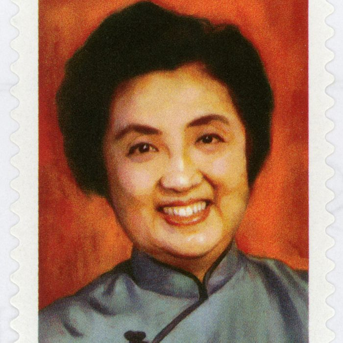 UNITED STATES - CIRCA 2014: forever stamp printed in USA (US) shows smiling Joyce Chen; Chinese chef, restaurateur, television personality; Chinese cuisine; celebrity chefs; Scott 4924; circa 2014; Shutterstock ID 299820107; Job (TFH, TOH, RD, BNB, CWM, CM): TOH