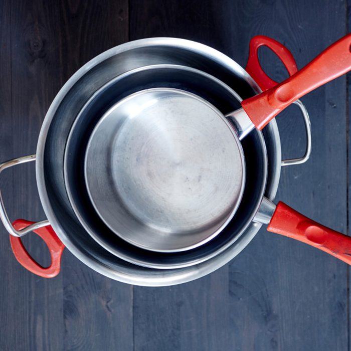 A studio photo of pots and pans