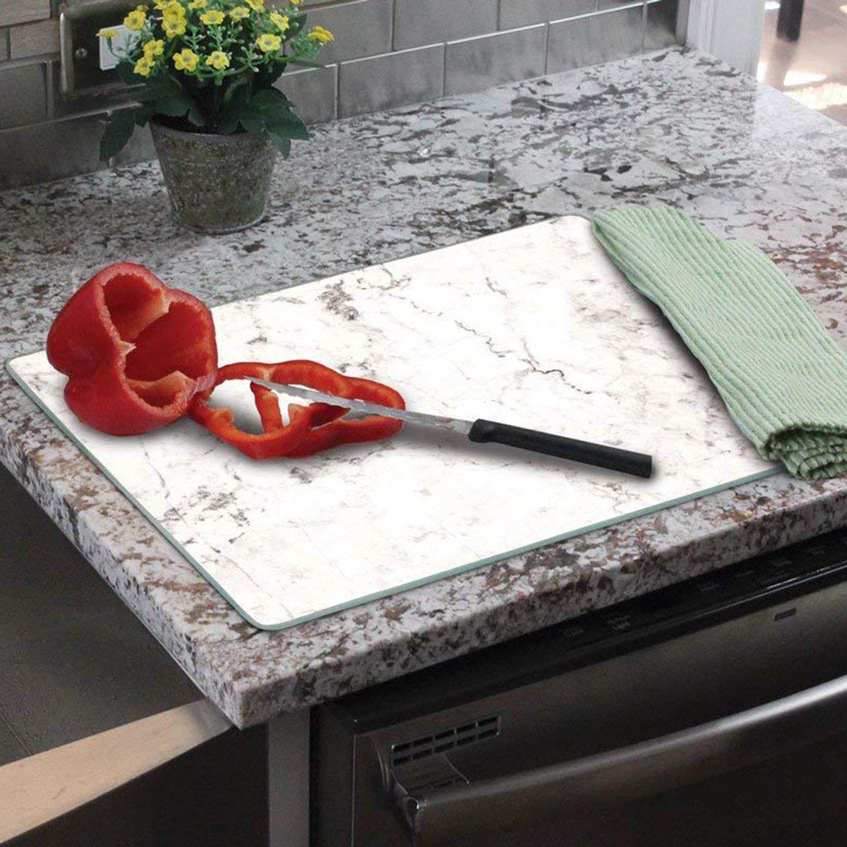 "CounterArt 'White Marble' Glass Cutting Board, 15 x 12"""