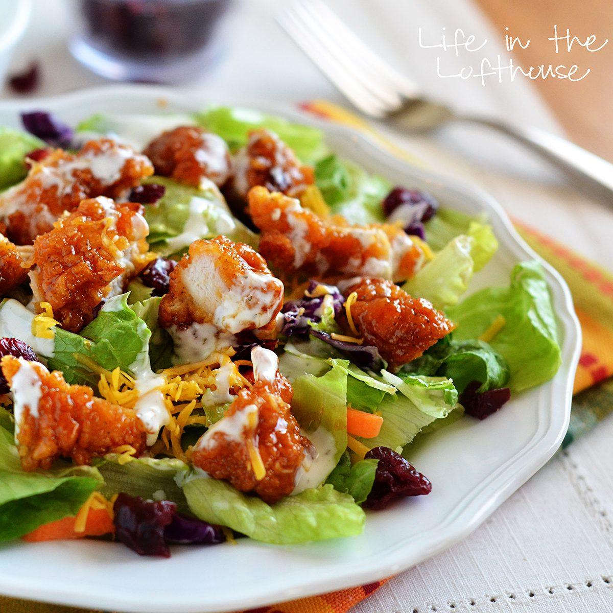 Sticky chicken fingers salad