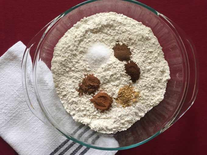 making gingerbread cookies flour with spices