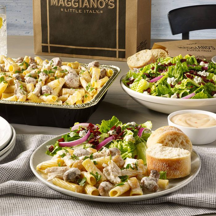Maggiano's Little Italy pasta and salad