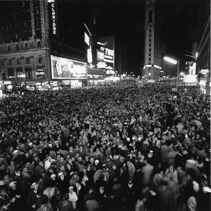 This is a photo looking south from the Marquee of the Hotel Astor during the New Year's Eve celebration in Times Square in New York City