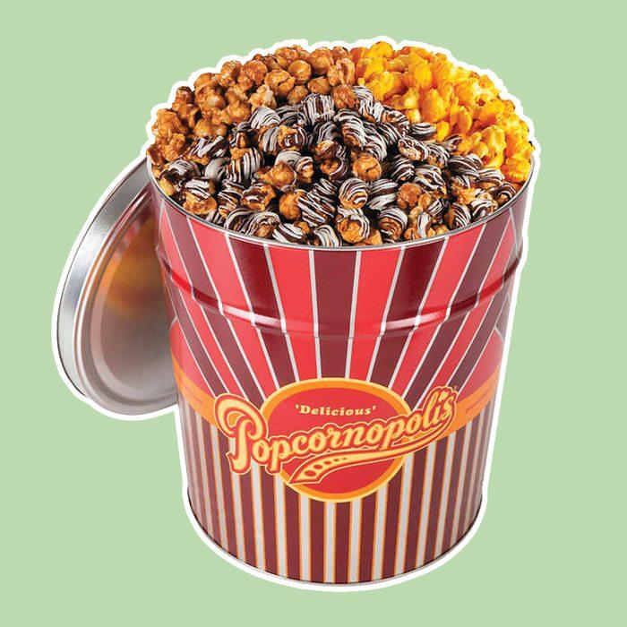 Popcornopolis 3.5 Gallon Gourmet Popcorn Party Tin: Caramel, Cheddar, and Zebra