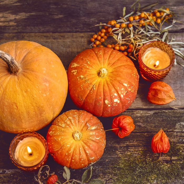 beautiful autumn composition with pumpkins.