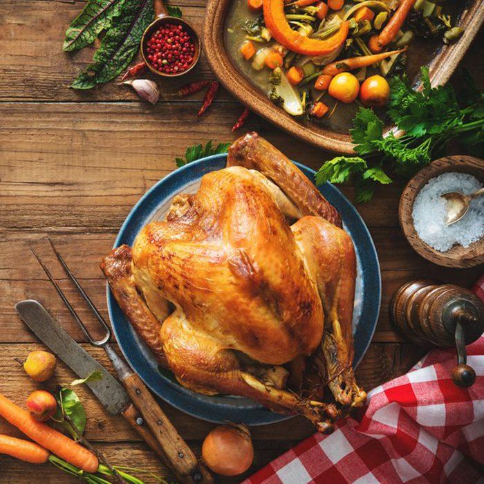 Huge turkey on table
