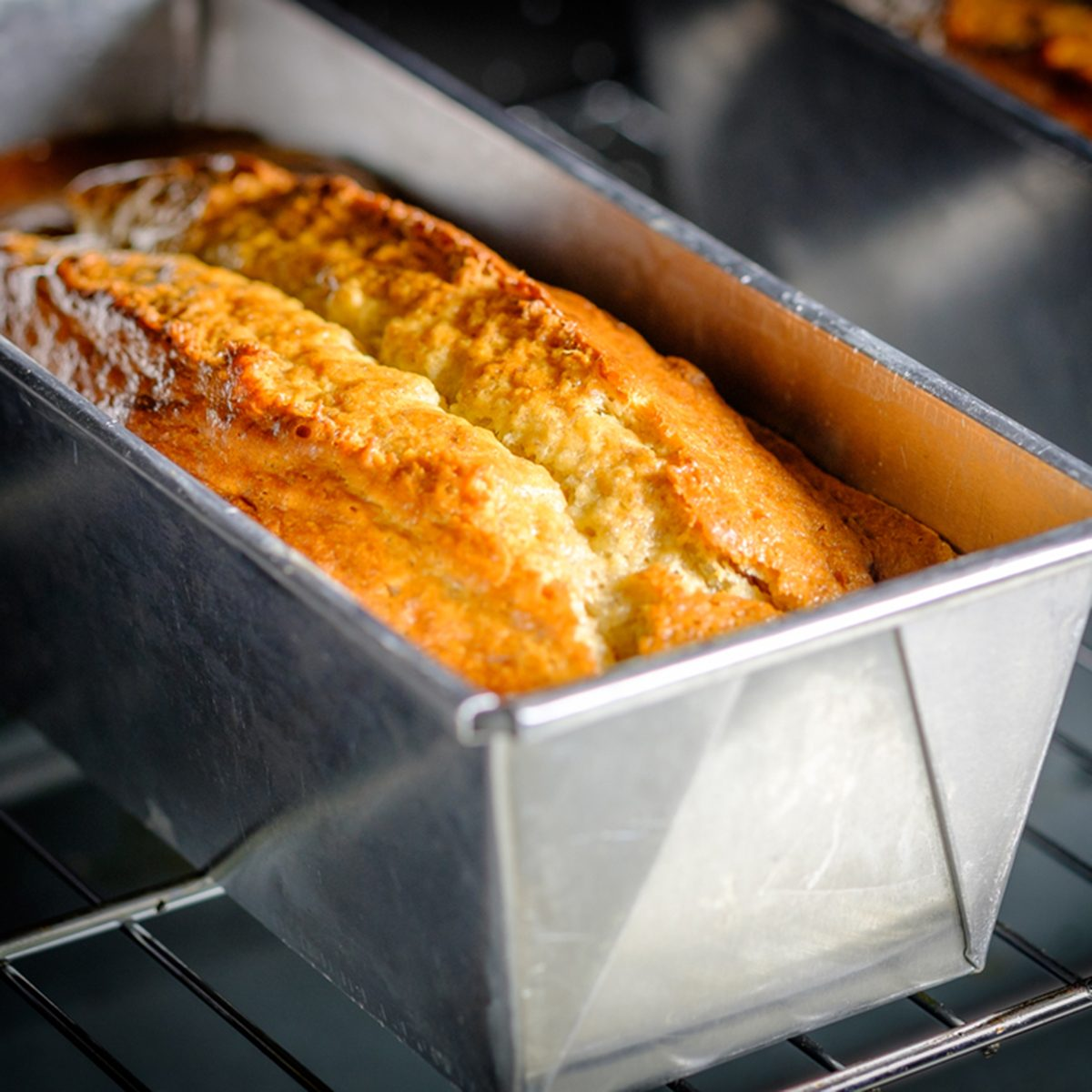 Homemade Banana Bread or Cake in a stainless tray fresh from the oven.