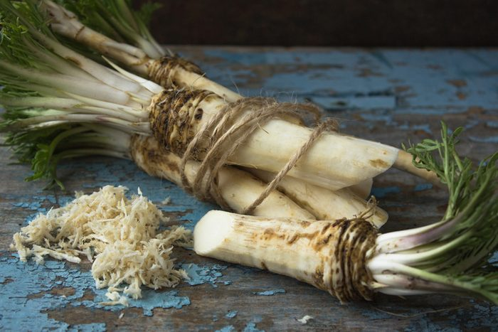 horseradish on a wooden table