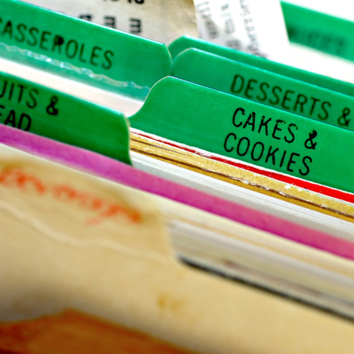 Cakes and cookies recipes in a recipe box