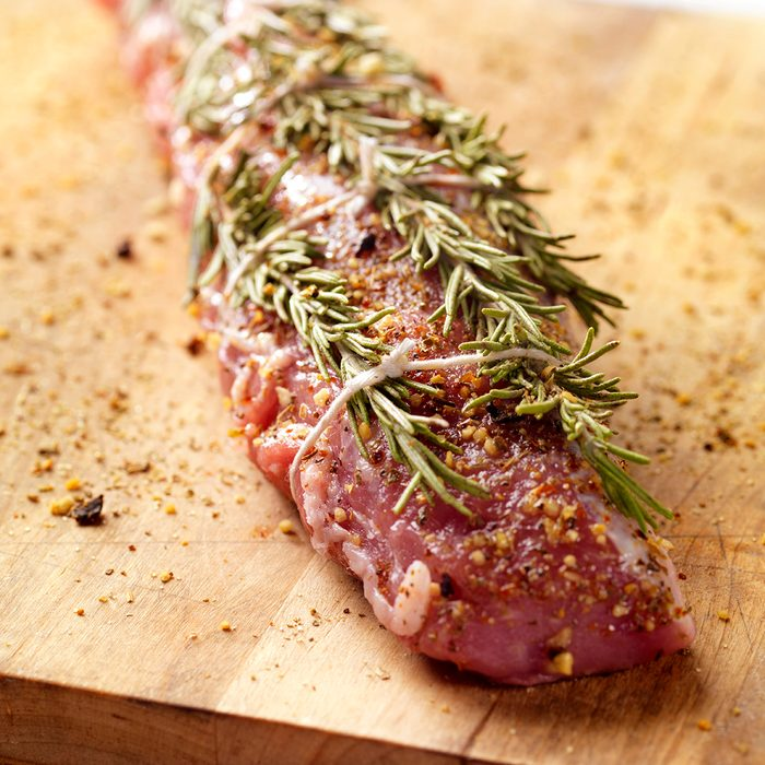 Raw Pork Tenderloin Roast With Rosemary -Photographed on Hasselblad H3-22mb Camera